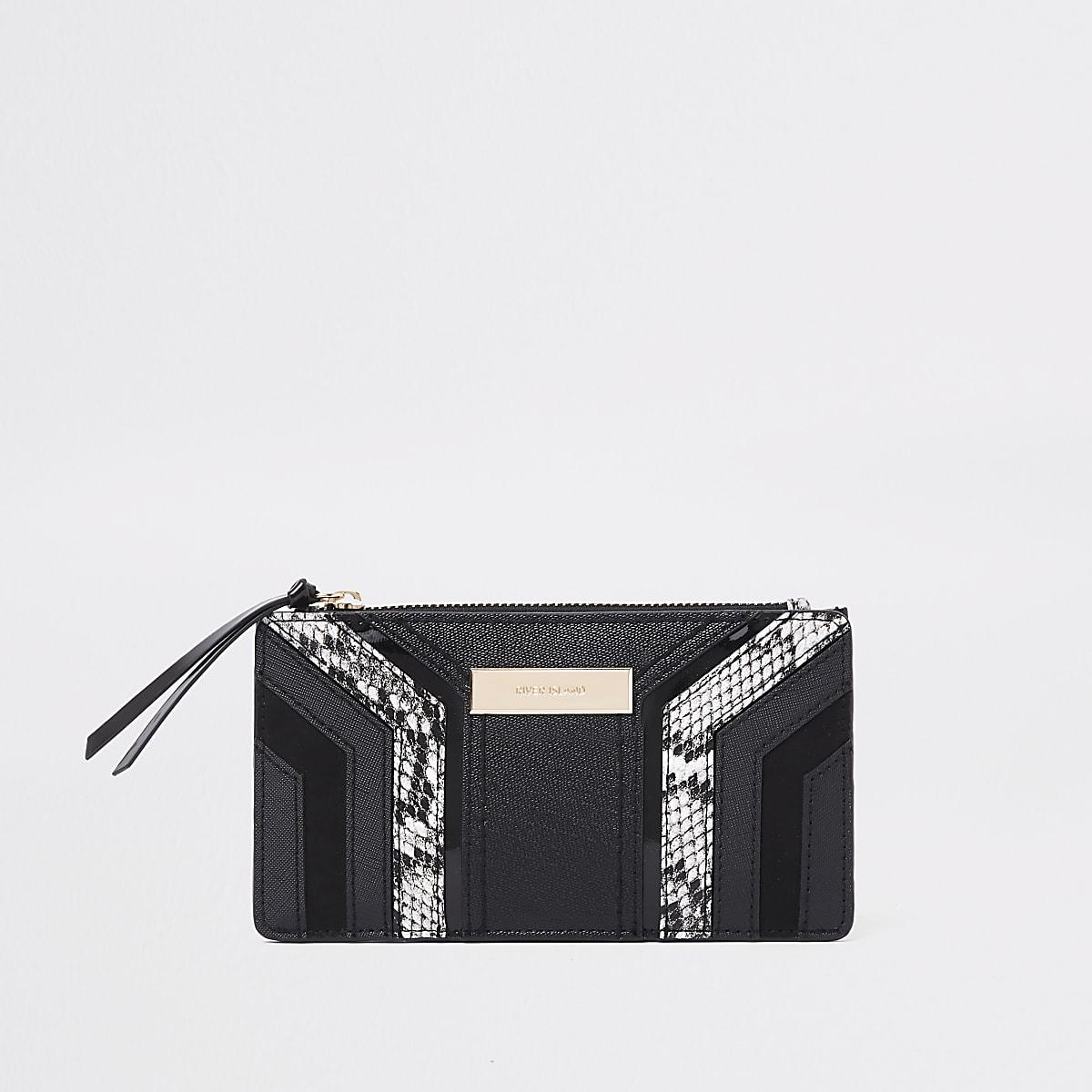 Zwarte smalle uitvouwbare portemonnee met uitsnede en slangenprint