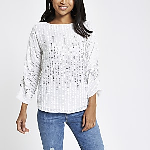Petite white sequin embellished top