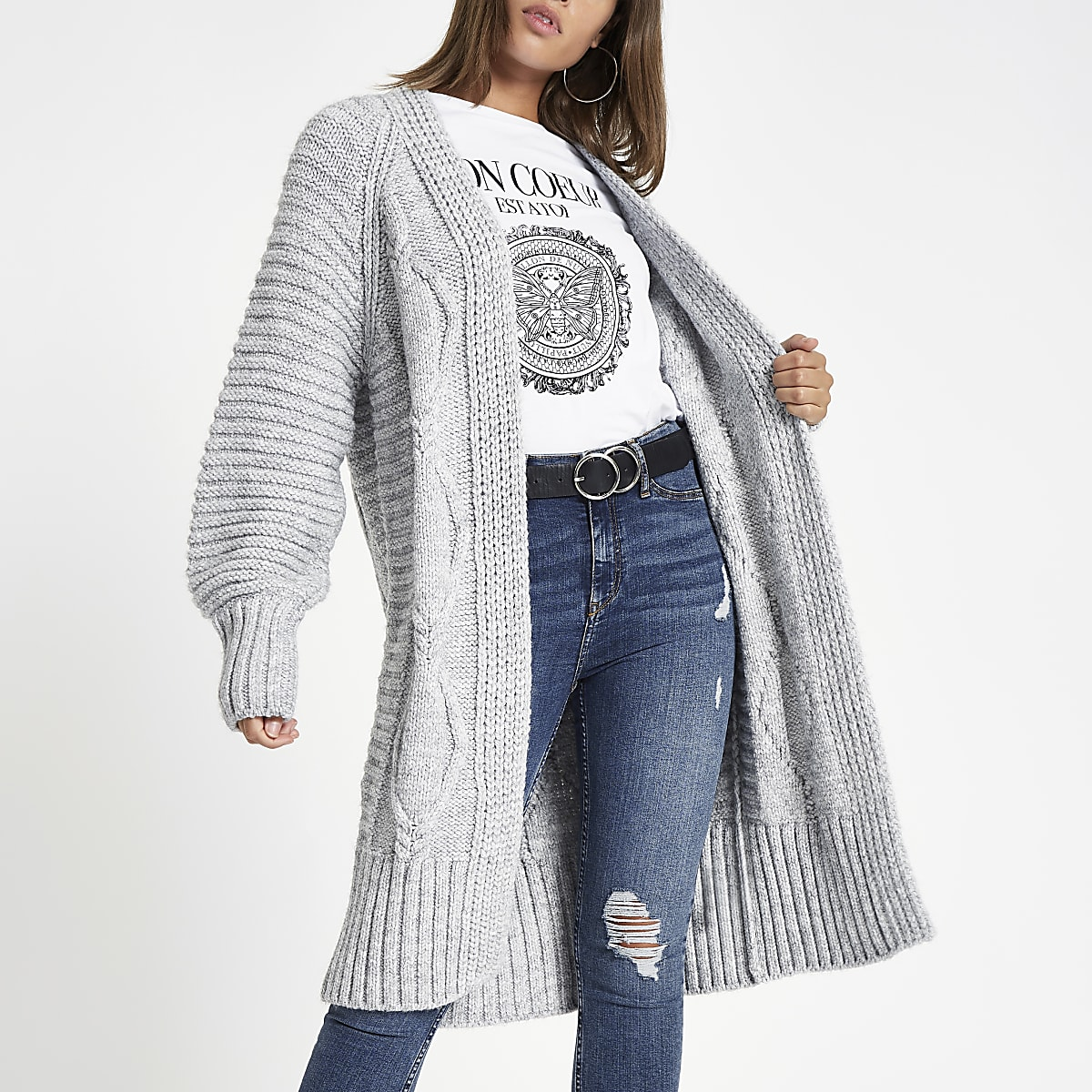 f8e02f0823bb9b Grey cable knit longline maxi cardigan - Knit Tops - Tops - women