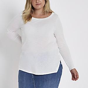 Plus white long sleeve jersey T-shirt