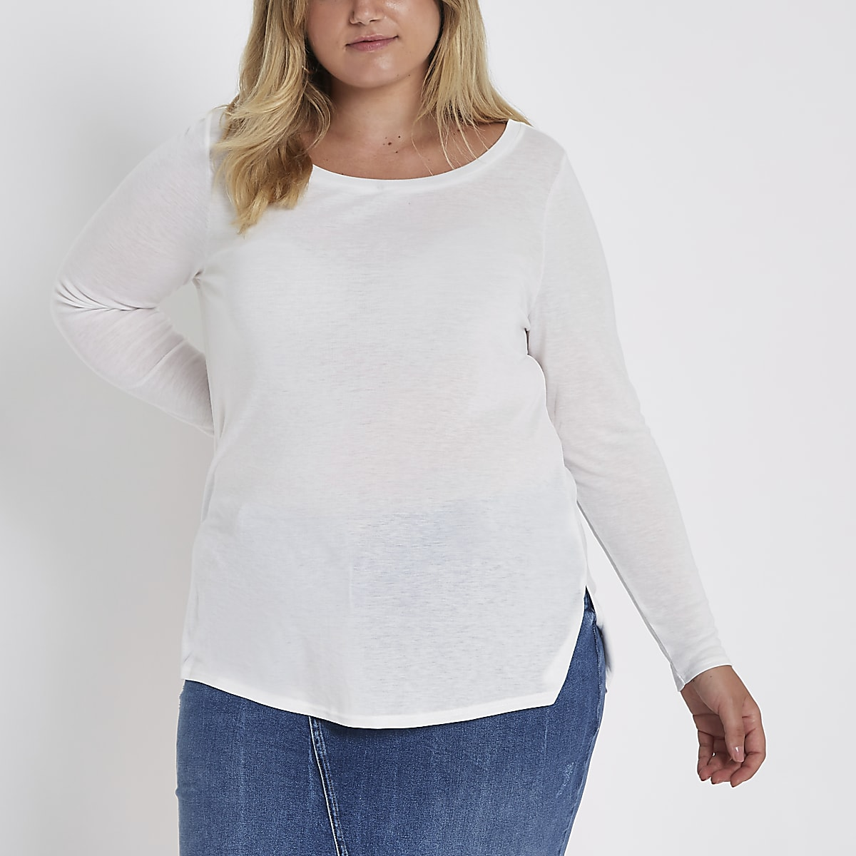 Plus white long sleeve jersey T-shirt