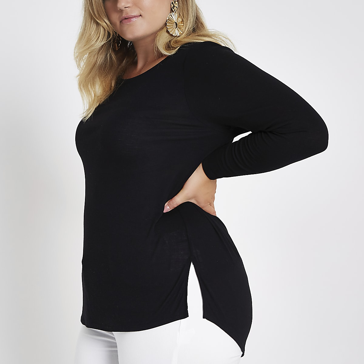 Plus black long sleeve jersey T-shirt