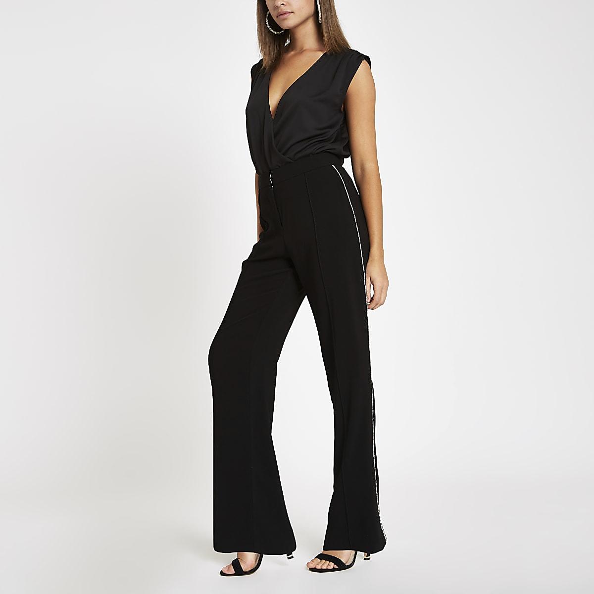 Black diamante trim wide leg trousers