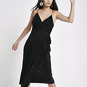Black plisse wrap midi slip dress