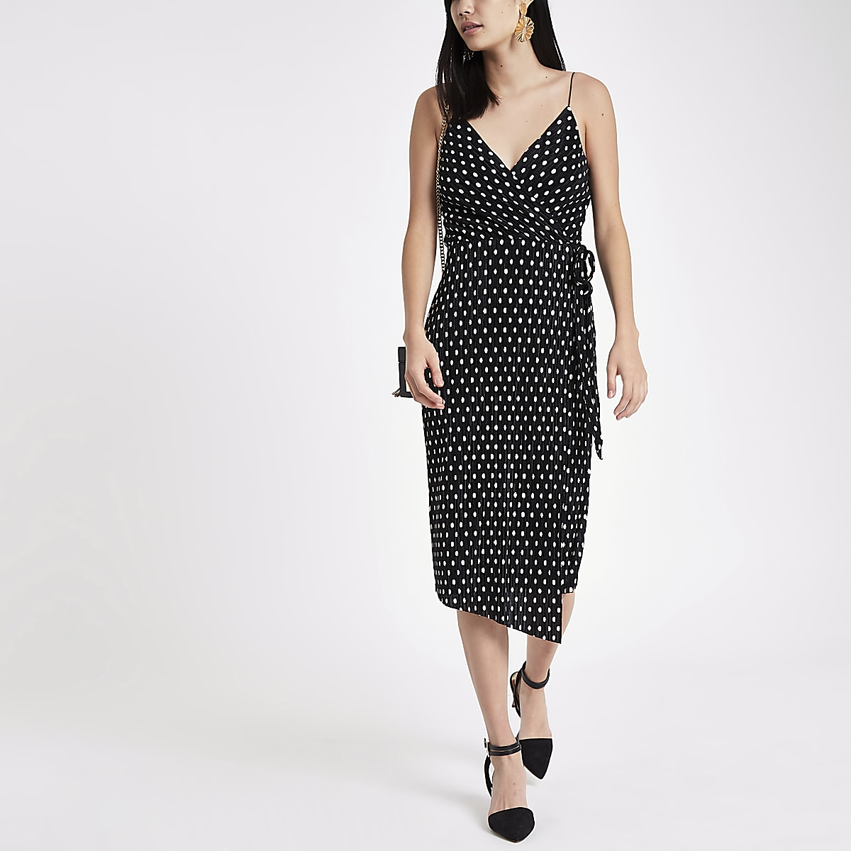 3a2f945c8948 Black plisse spot wrap midi slip dress - Slip & Cami Dresses ...