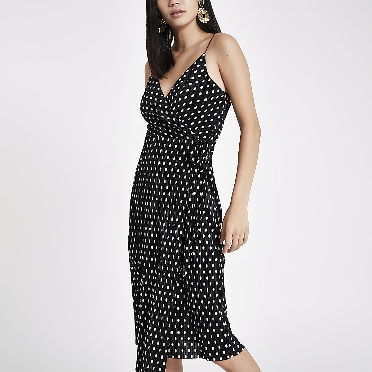 Black plisse spot wrap midi slip dress