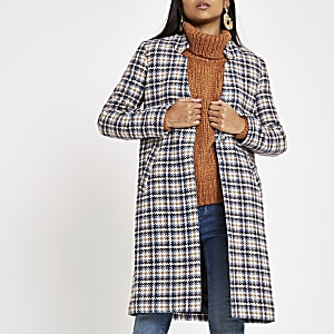 Petite blue check tailored coat