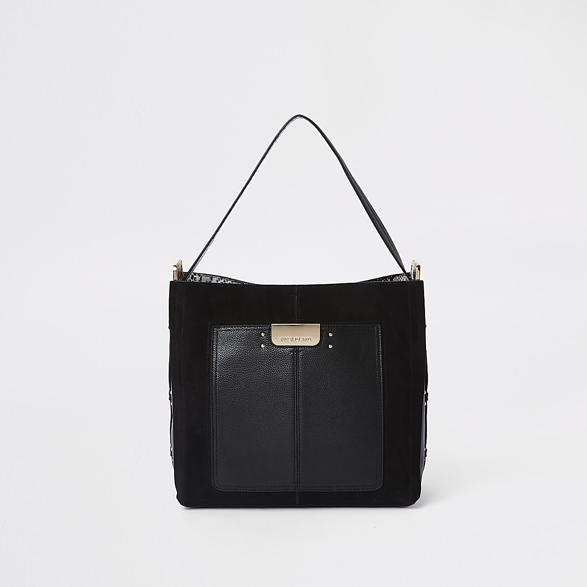Black front pocket slouch bag