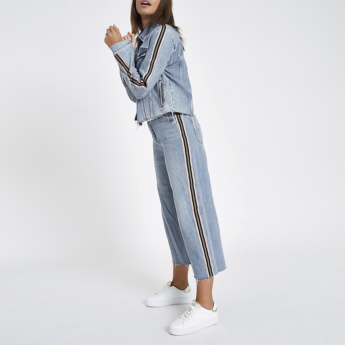 Light blue tape side Alexa denim culottes