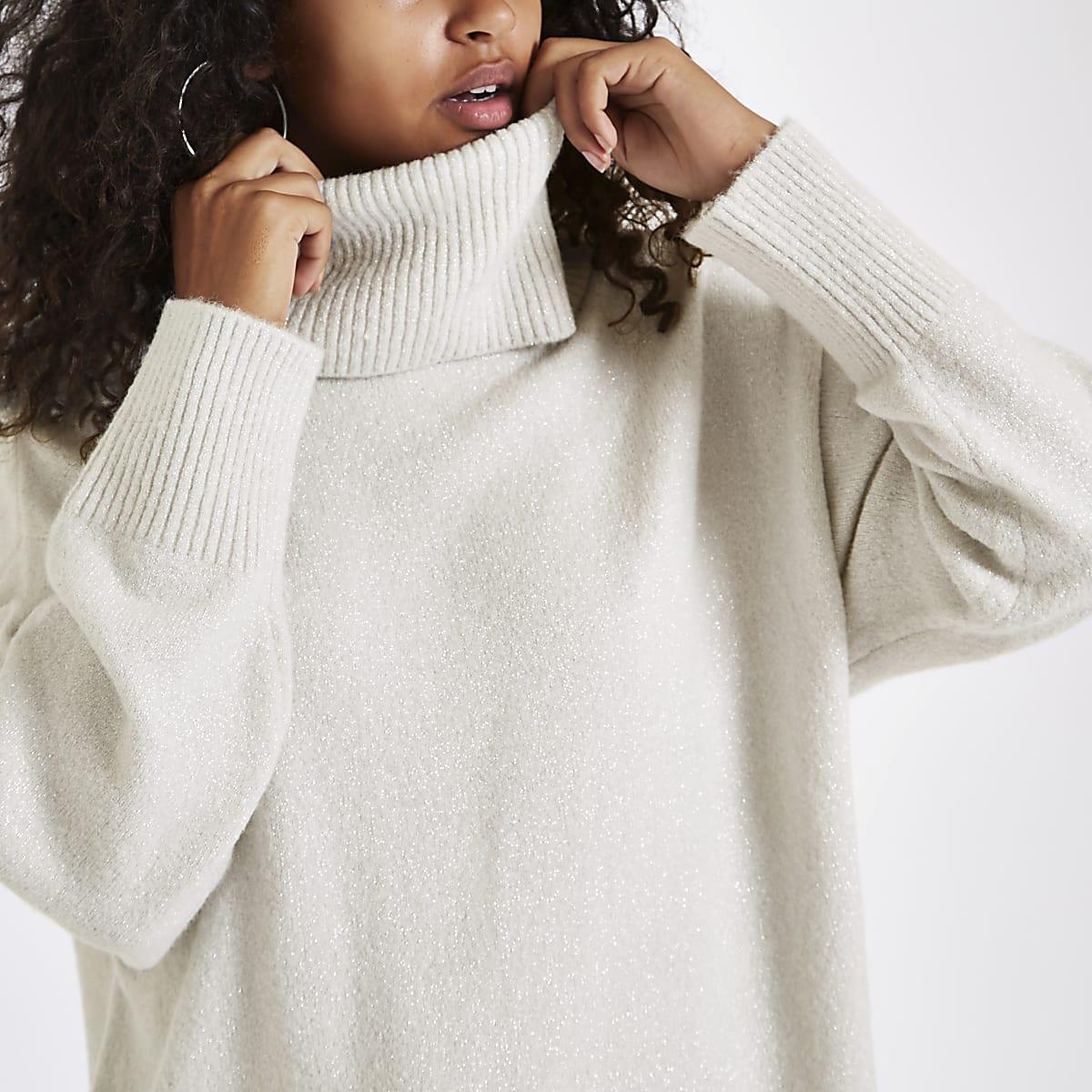 cf1fef6cf Grey glitter oversized roll neck jumper - Jumpers - Knitwear - women