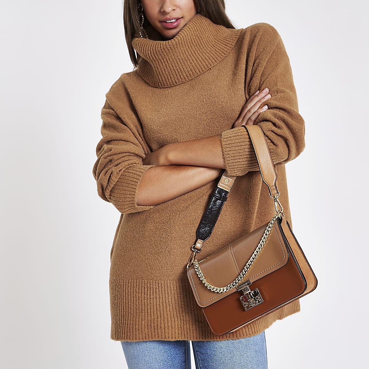 Brown oversized roll neck jumper