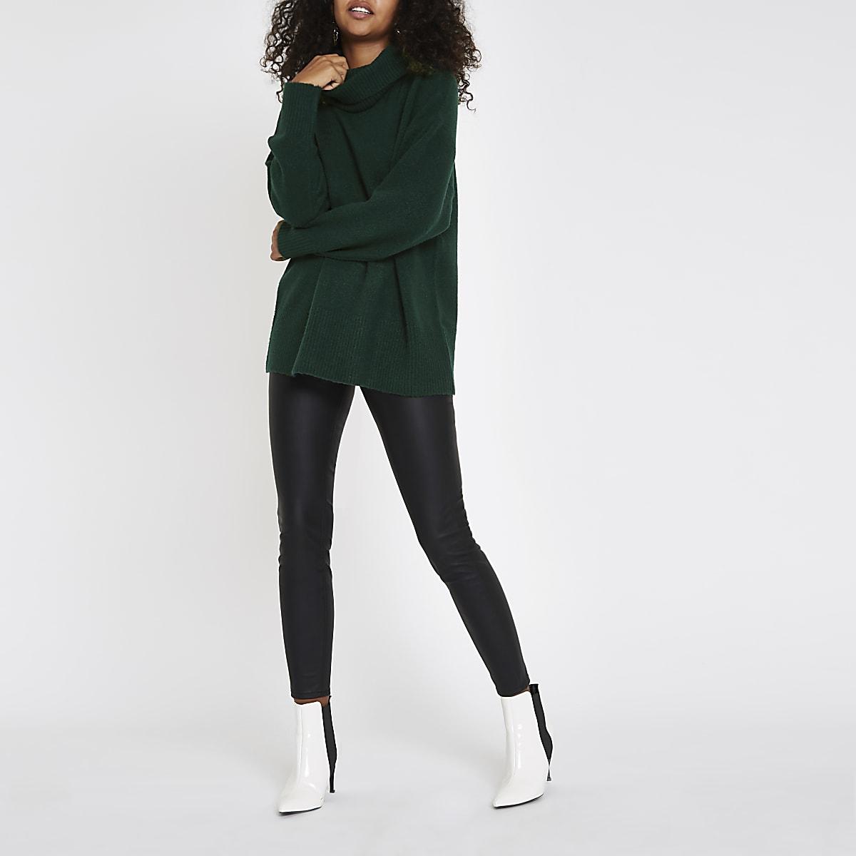 48ae6ee45fb Dark green oversized roll neck jumper