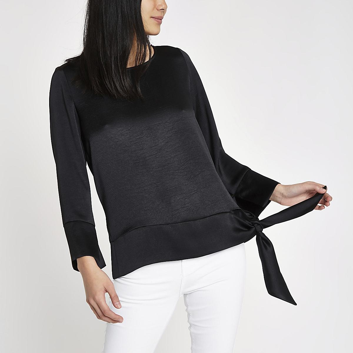 Black long sleeve tie side top