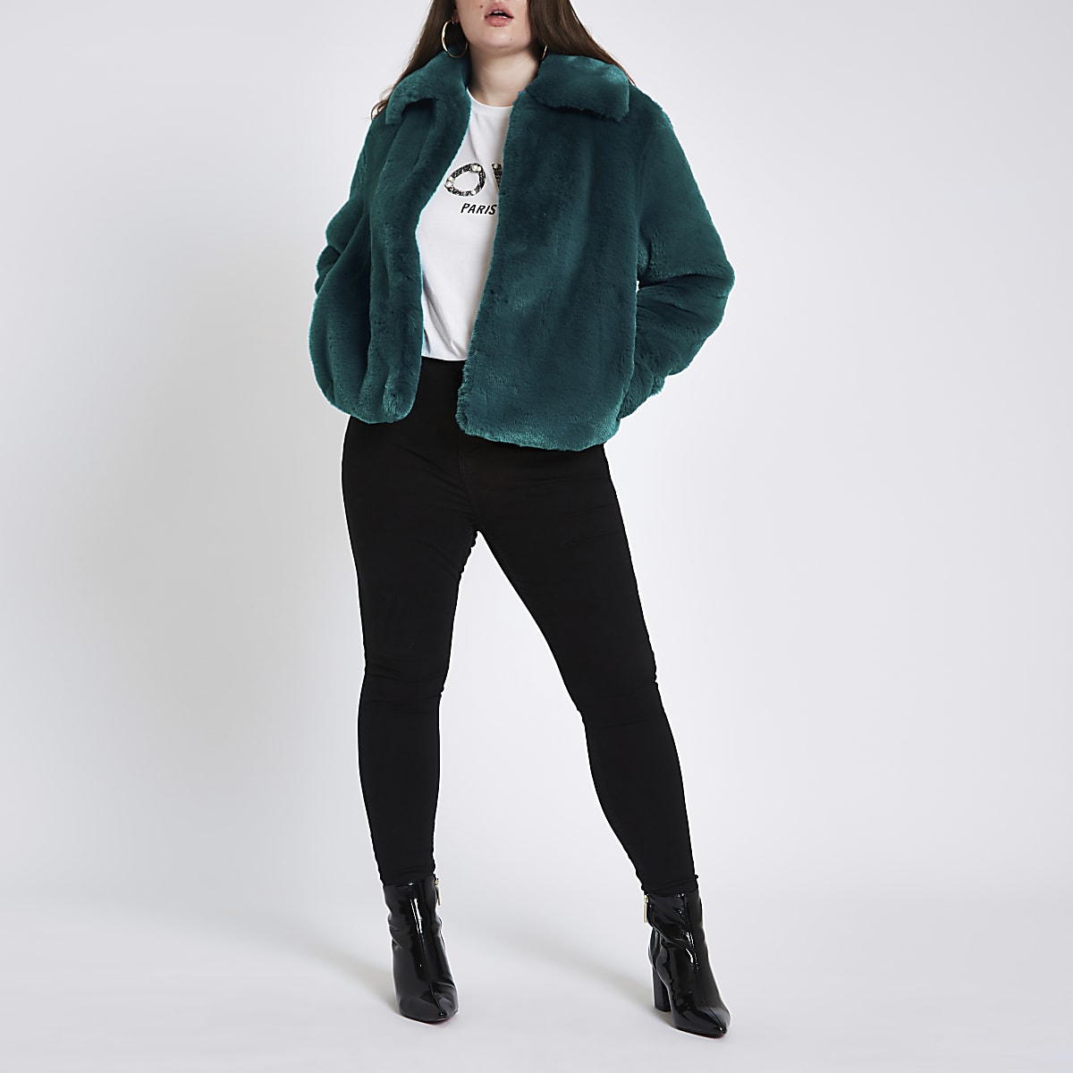 Plus teal blue plush faux fur coat