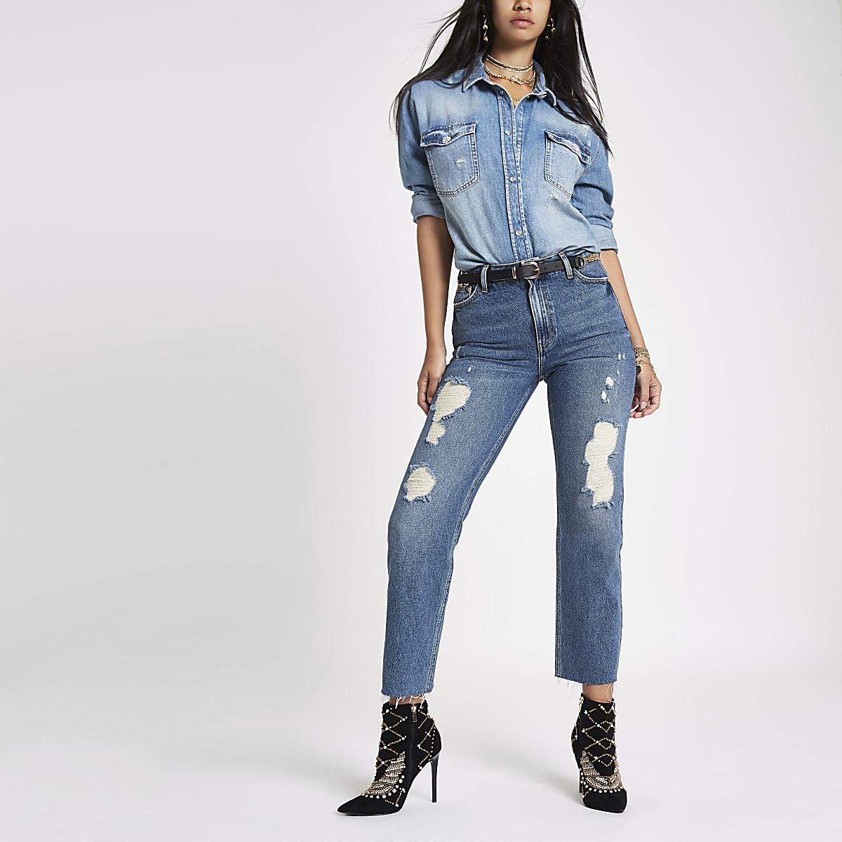 RI 30 - Middenblauwe ripped denim boyfriend jeans