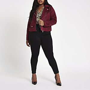 Plus dark red faux suede biker jacket