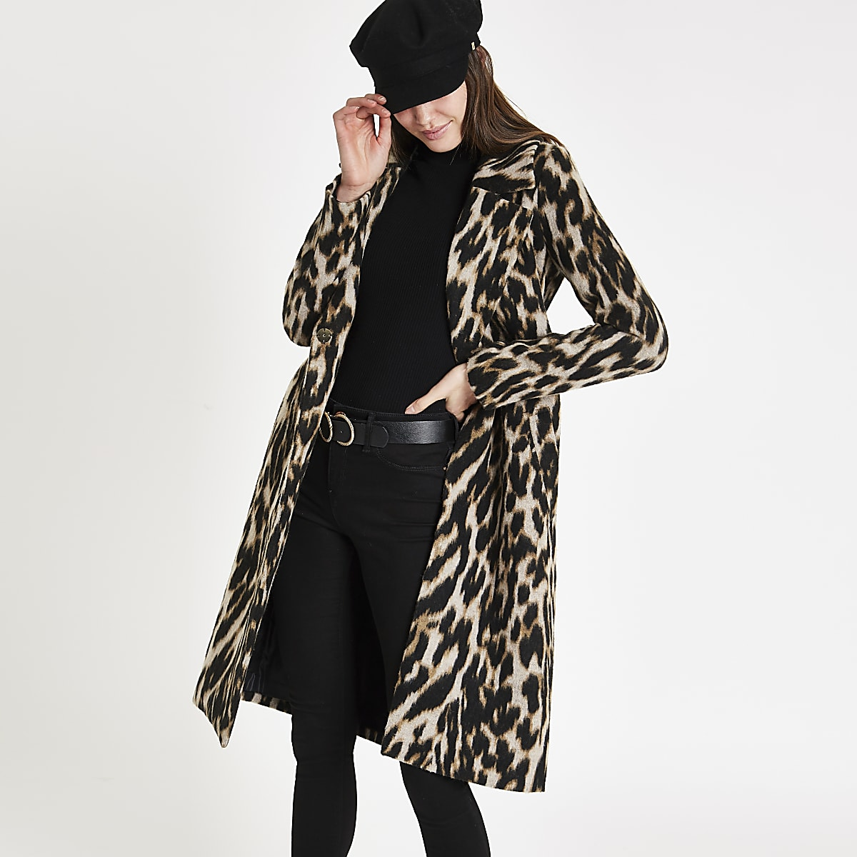 fc3495a42db0 Brown leopard print wool belted robe coat - Coats - Coats & Jackets ...