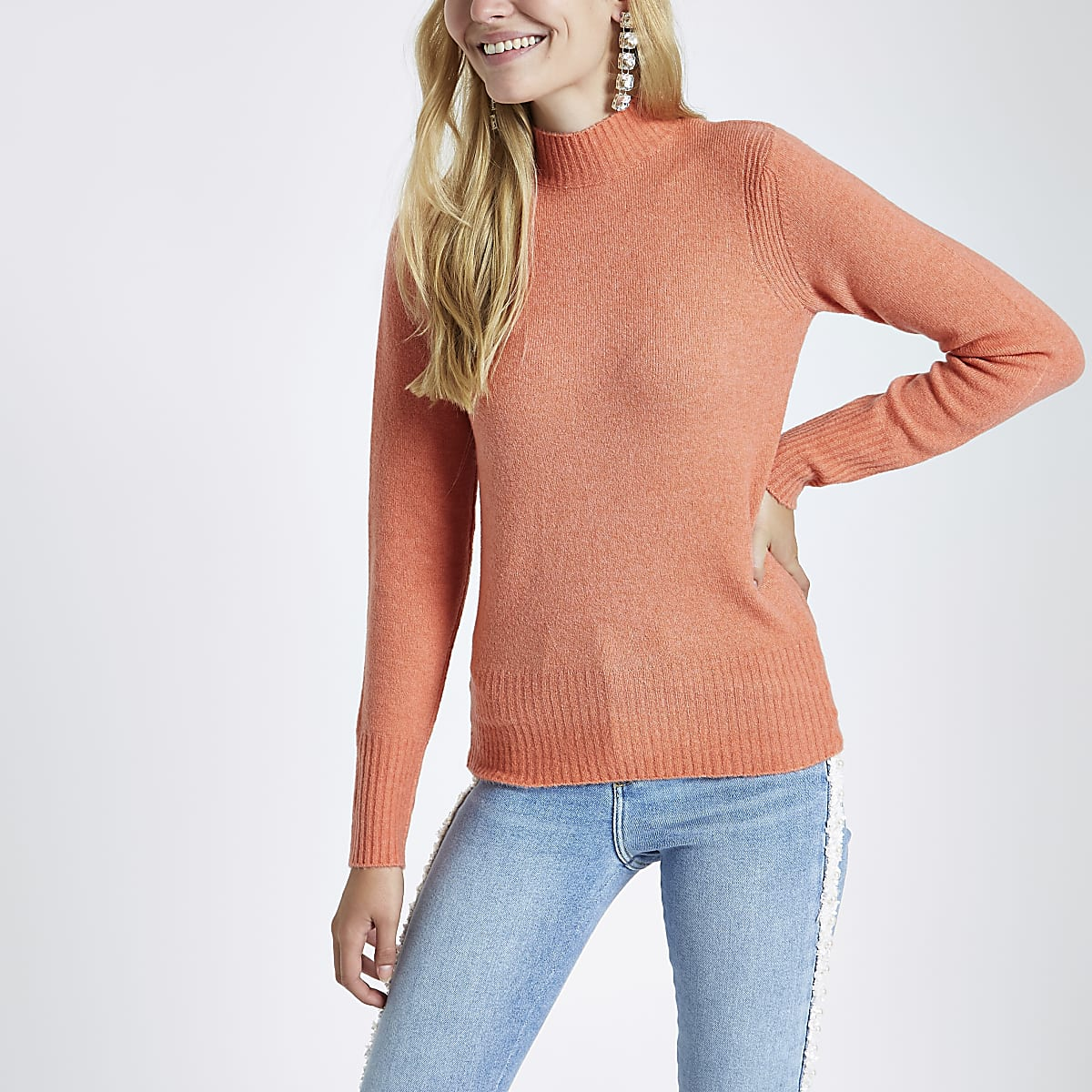 Coral knit turtle neck sweater