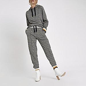Pantalon de jogging gris à bandes à carreaux