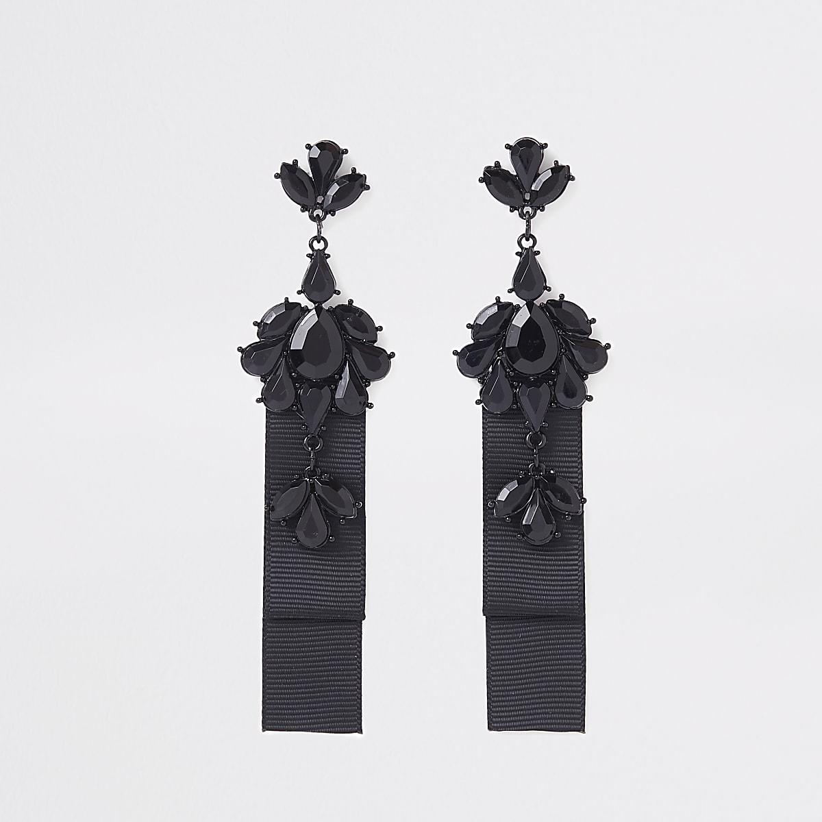 Black jewel drop statement earring