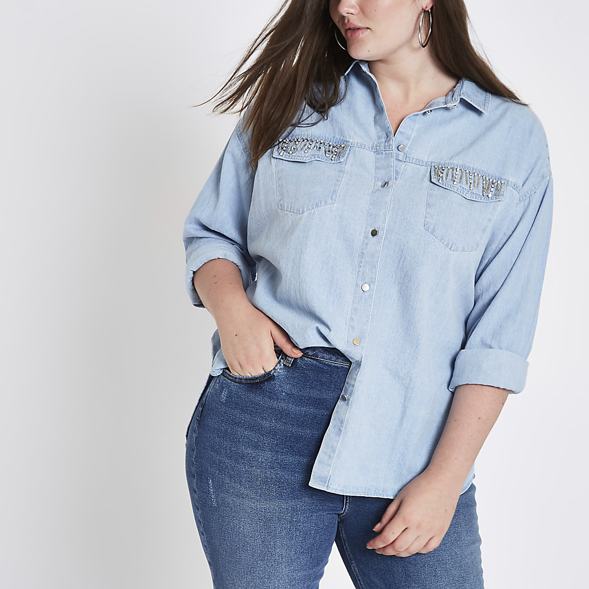 605ac9e33c4 Plus light blue rhinestone pocket denim shirt - Shirts - Tops - women