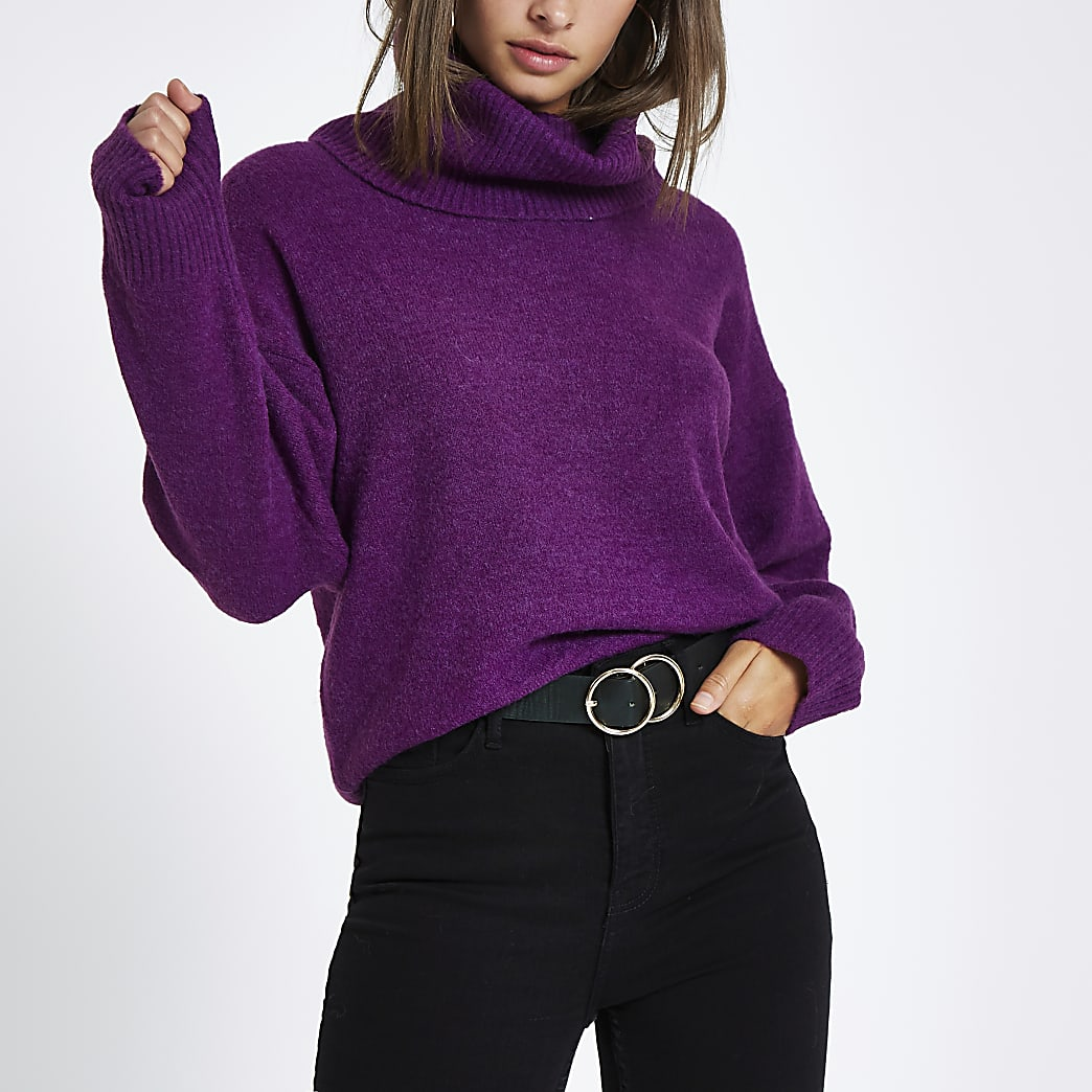 Purple oversized roll neck jumper