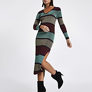 Purple stripe V neck bodycon midi dress