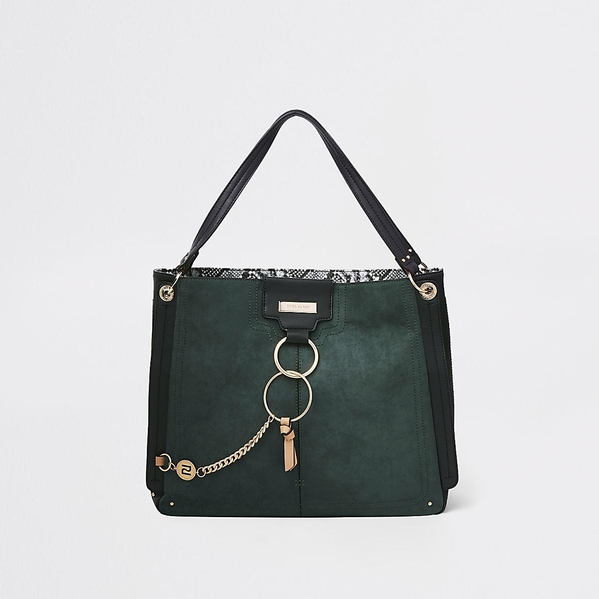 Dark green oversized metal ring slouch bag