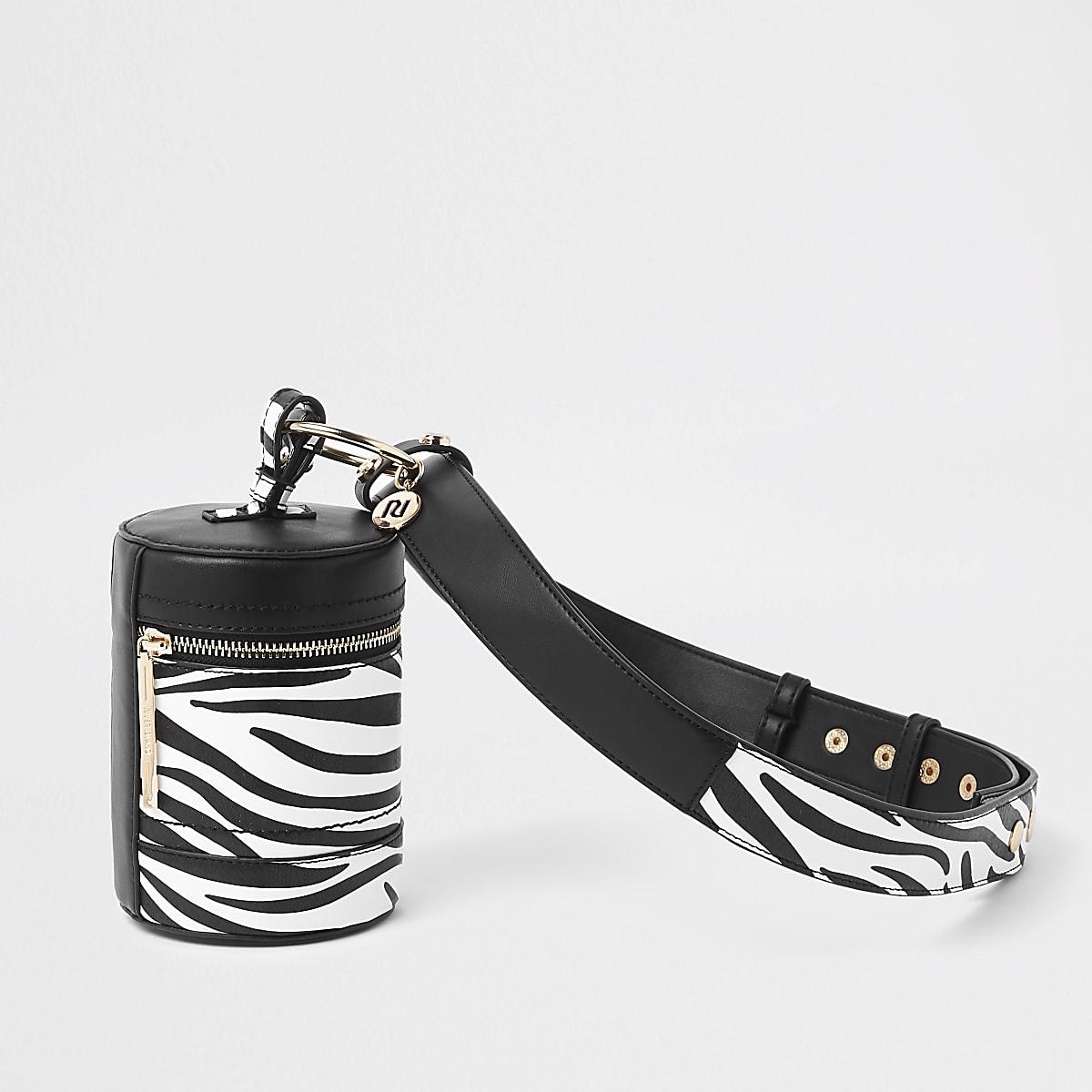 Light grey zebra print belted bag