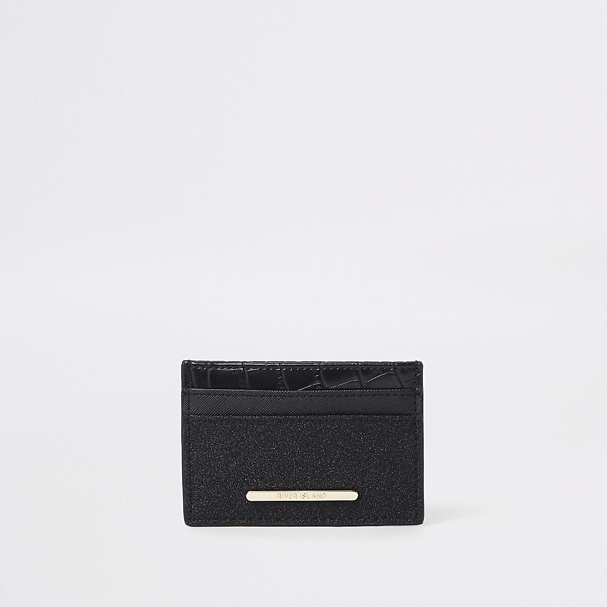 Black glitter panel card holder