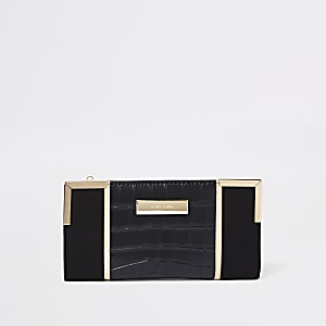 Black croc metallic panel foldout purse