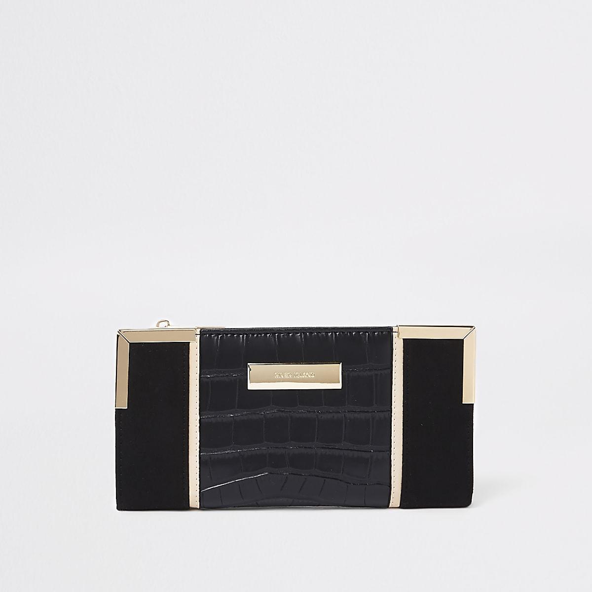 Black croc metallic panel foldout purse