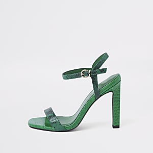 Green snake embossed barely there sandals
