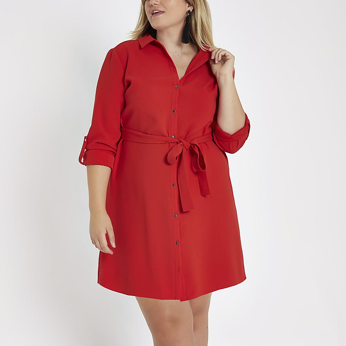 Plus – Robe chemise mi-longue rouge