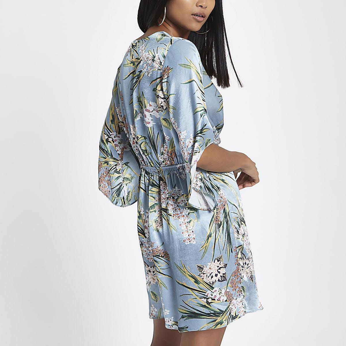 eef34946c9ee Petite blue floral print kimono mini dress - Shift Dresses - Dresses ...
