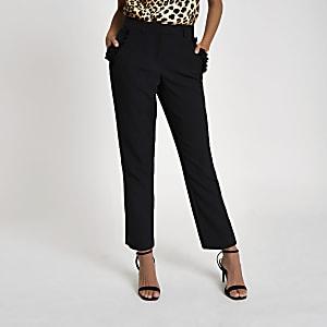 Black frill pocket cigarette pants