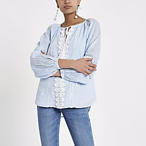 Blue tie lace trim long sleeve top