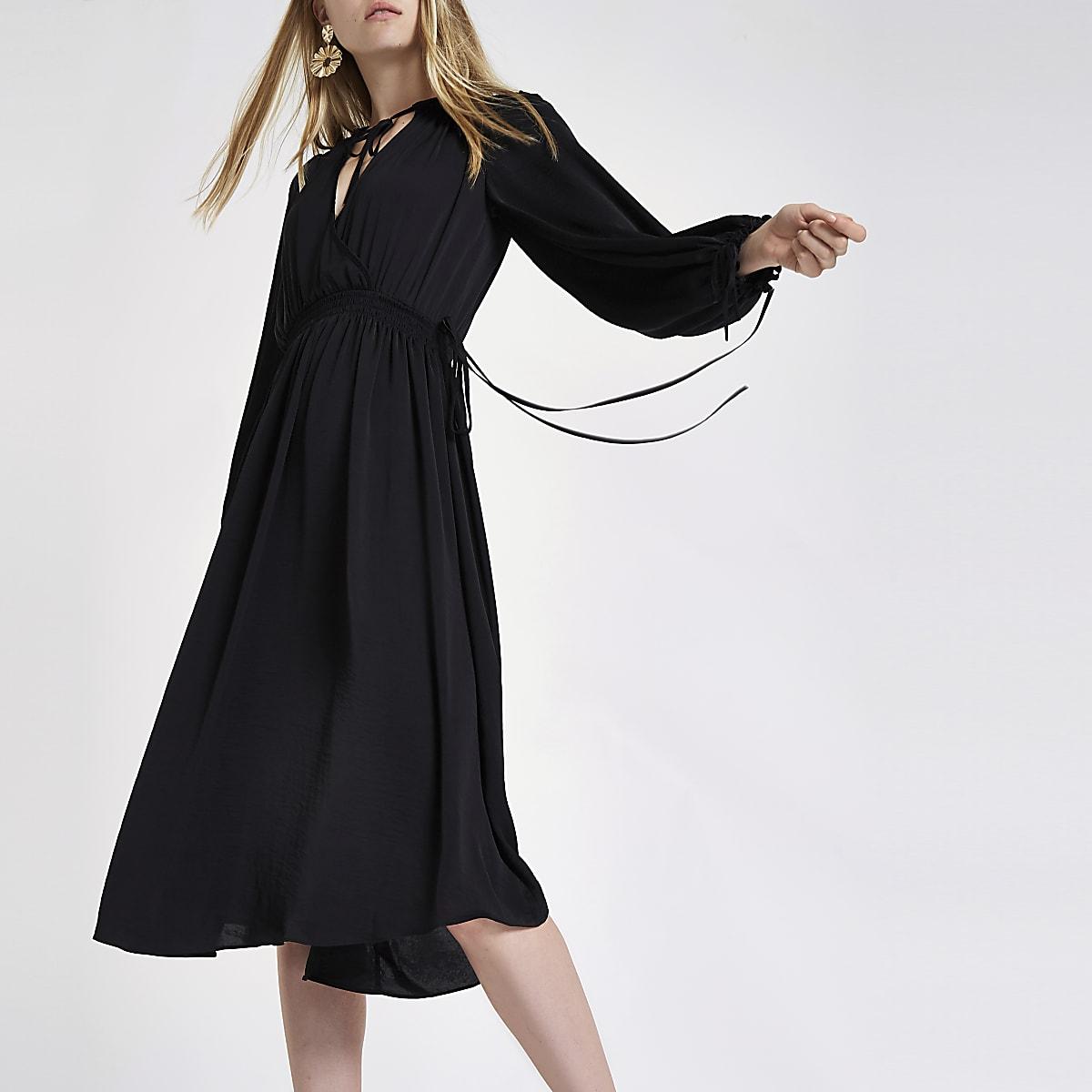 85e7c83acf4 Black shirred waist smock midi dress - Swing Dresses - Dresses - women