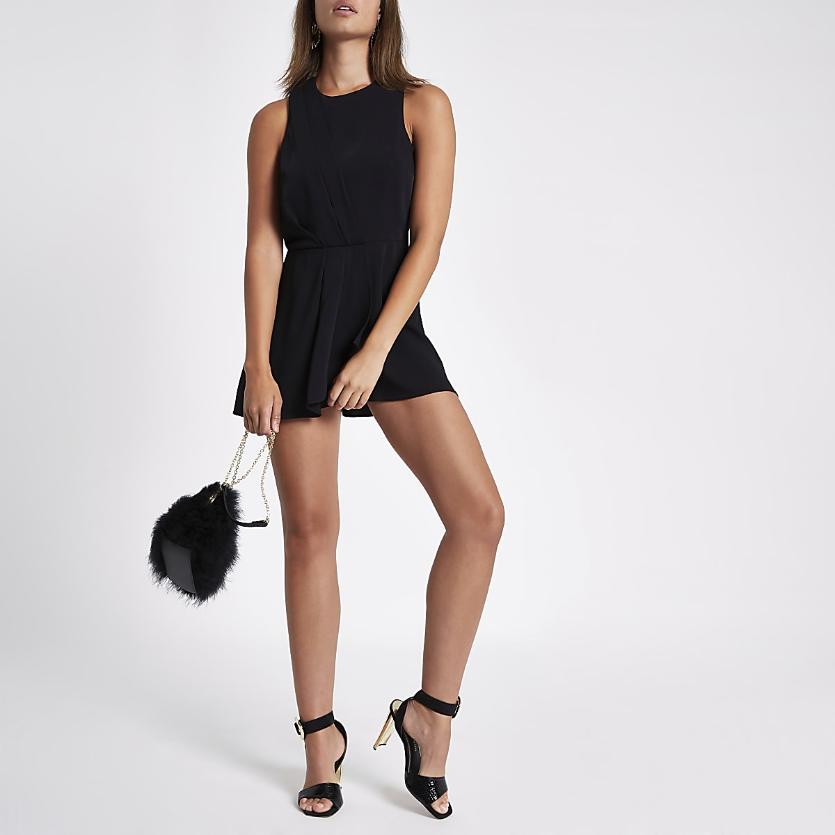 f45b7f0992 Black knot front skort playsuit - Playsuits - Playsuits   Jumpsuits - women