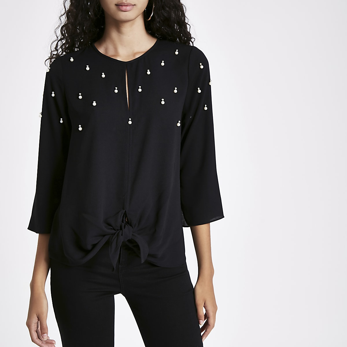 Black cluster embellished tie front top