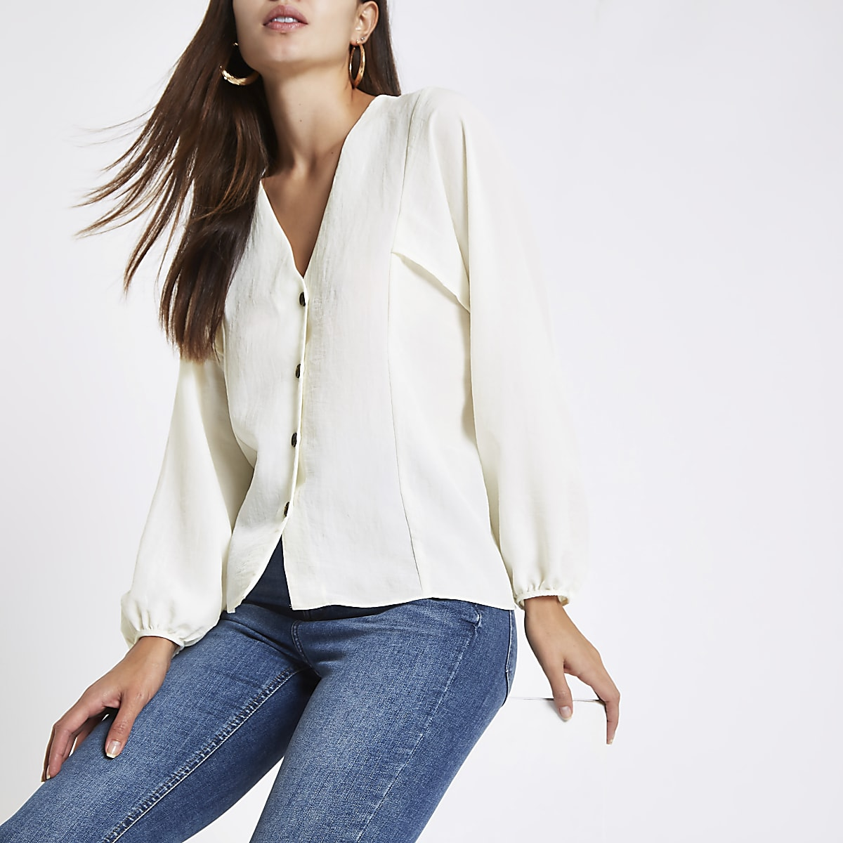 b58aa3ad Cream button up v neck blouse - Shirts - Tops - women
