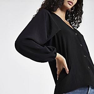 Black button up v neck blouse
