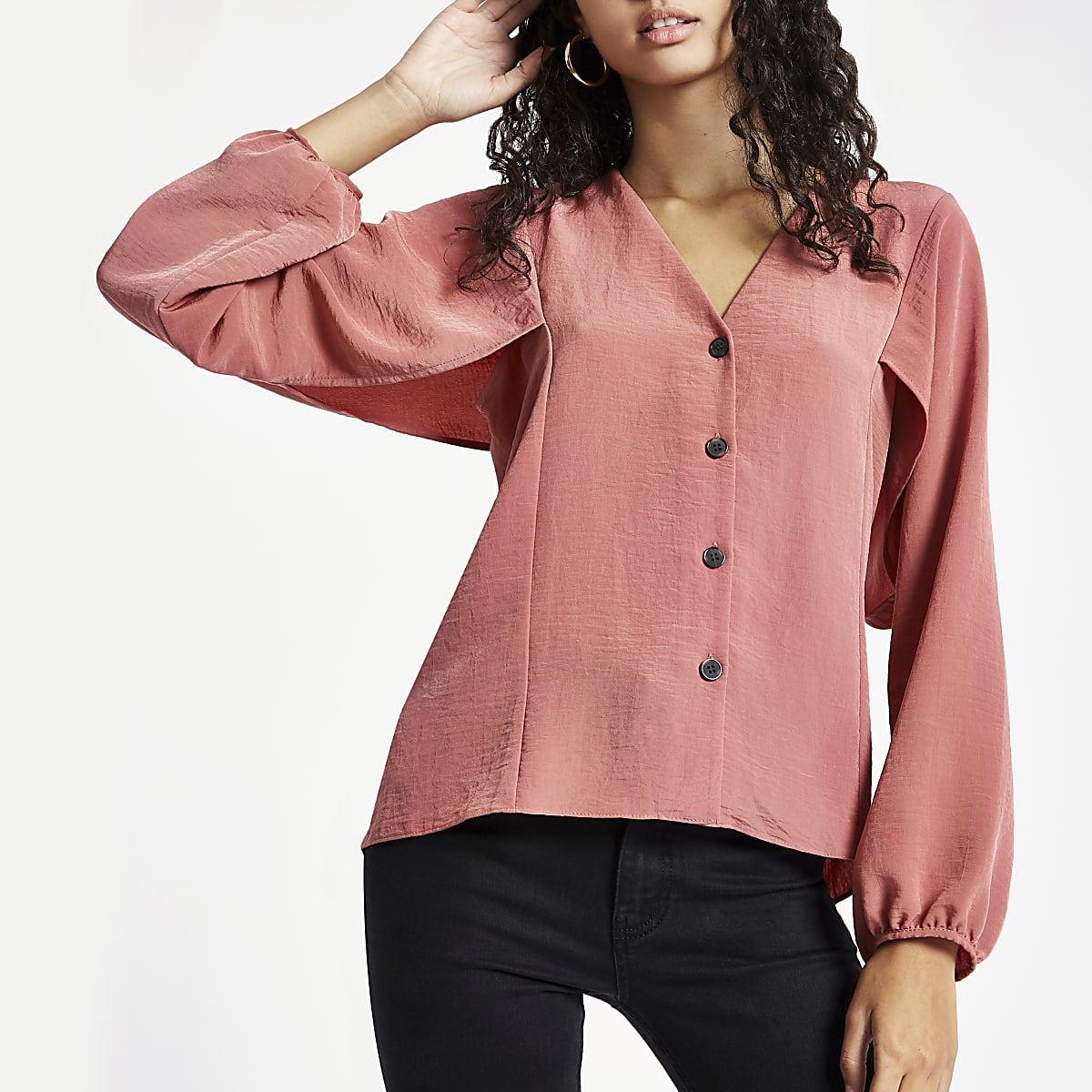 Pink button up v neck blouse