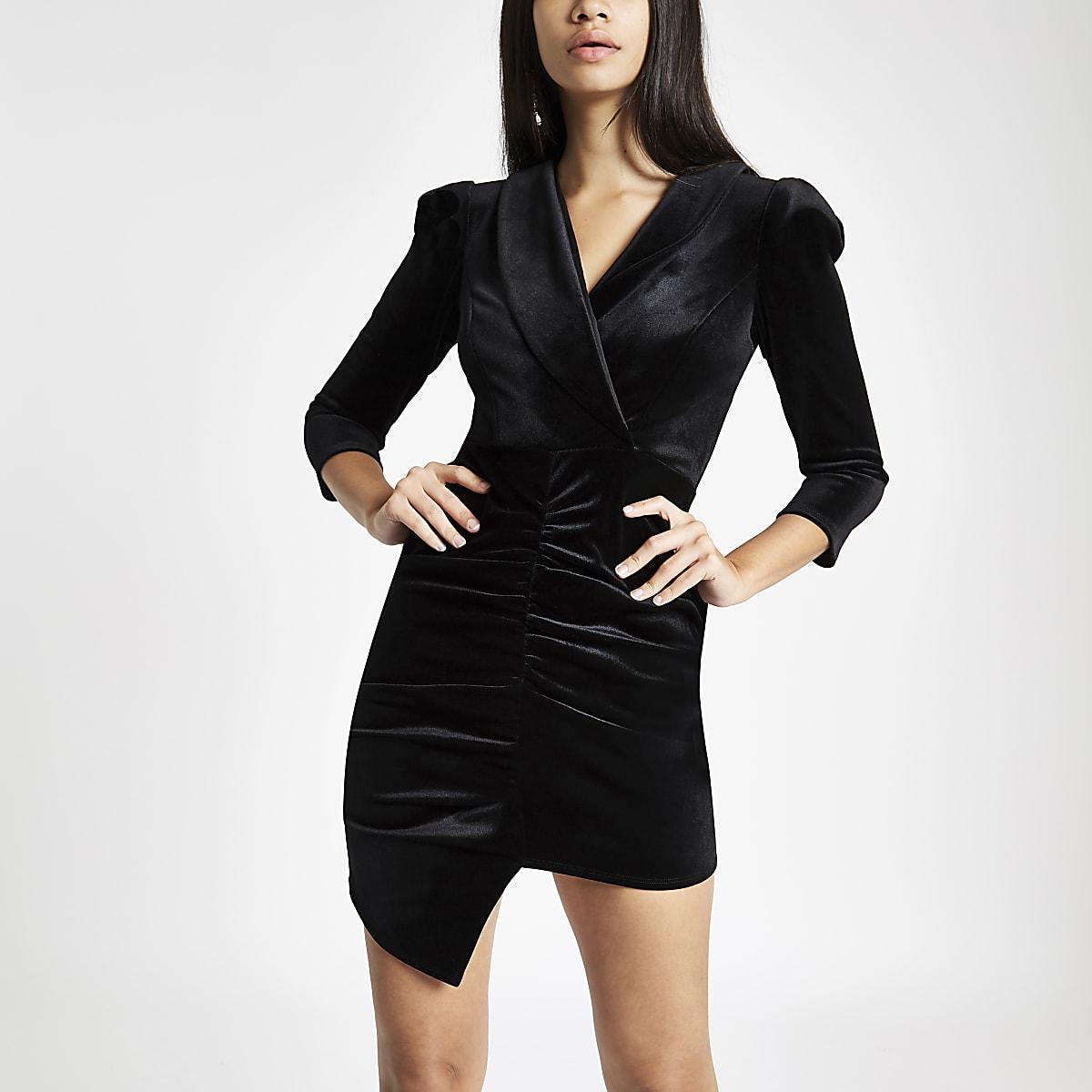 Black velvet ruched front bodycon dress