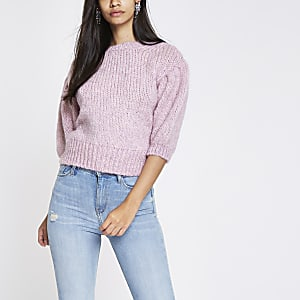 Pink knit cropped jumper