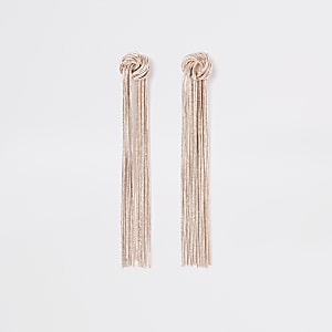 Rose gold colour slinky knot drop earrings