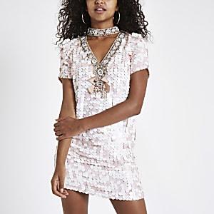 Pink sequin choker neck swing dress