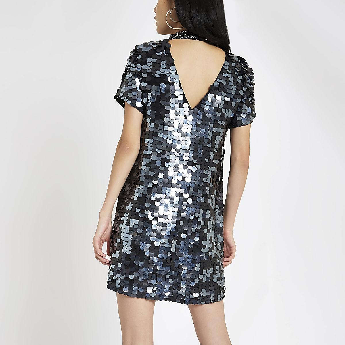 a646736fee Black sequin choker neck swing dress - Swing Dresses - Dresses - women