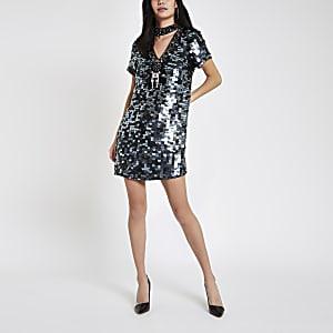 Black sequin choker neck swing dress