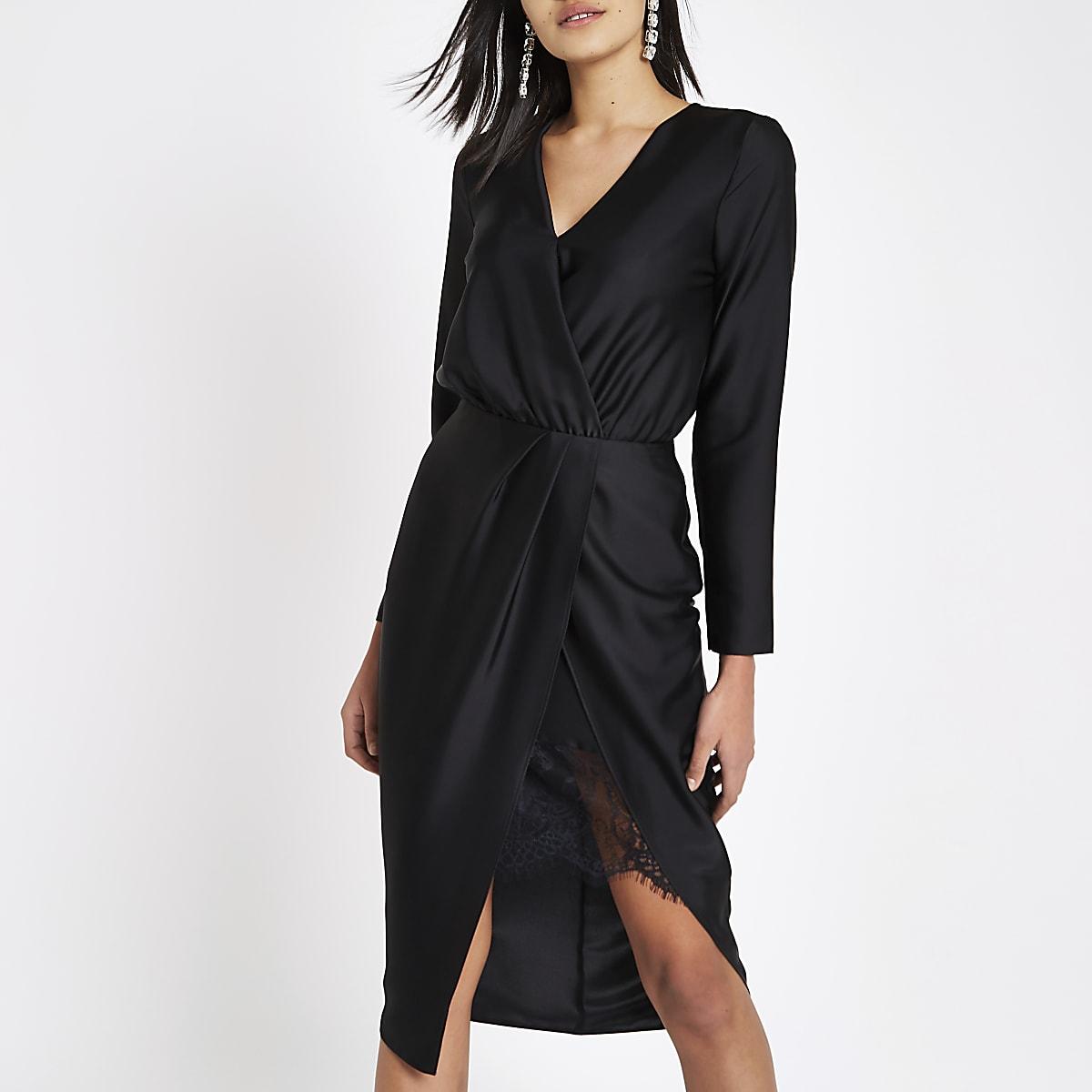 Black wrap front waisted midi dress